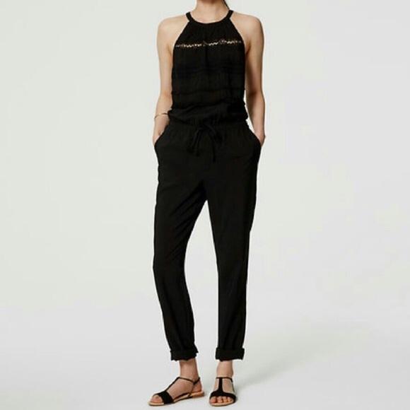 cf198cd0253 NWT Ann Taylor LOFT black high neck jumpsuit